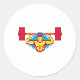 weightlifter body builder lifting weights  retro classic round sticker