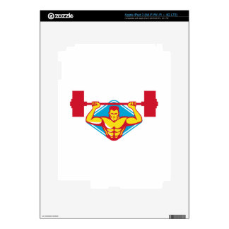 weightlifter body builder lifting weights  retro decals for iPad 3