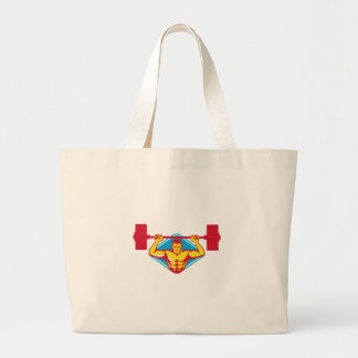 weightlifter body builder lifting weights  retro jumbo tote bag