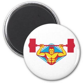 weightlifter body builder lifting weights  retro magnet