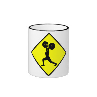 Weightlifter Crossing Sign Mugs