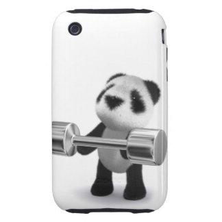 Weightlifter de la panda del bebé 3d carcasa though para iPhone 3