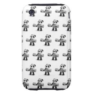 Weightlifter de la panda del bebé 3d funda resistente para iPhone 3