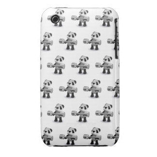 Weightlifter de la panda del bebé 3d iPhone 3 carcasas