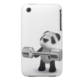 Weightlifter de la panda del bebé 3d iPhone 3 Case-Mate cárcasa