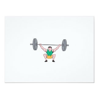 Weightlifter Deadlift Lifting Weights Cartoon 6.5x8.75 Paper Invitation Card