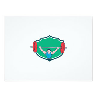 Weightlifter Deadlift Lifting Weights Shield Carto 6.5x8.75 Paper Invitation Card