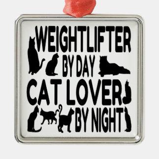 Weightlifter del amante del gato adorno navideño cuadrado de metal