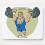 Weightlifter del dibujo animado tapetes de ratón