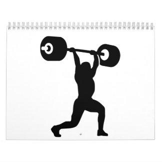 Weightlifter del levantamiento de pesas calendario de pared
