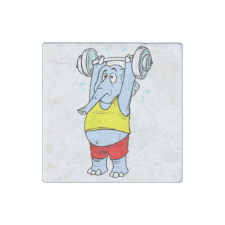 Weightlifter Elephant Stone Magnet