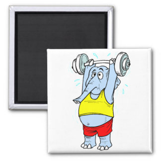 Weightlifter Elephant 2 Inch Square Magnet