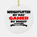 Weightlifter Gamer Double-Sided Ceramic Round Christmas Ornament