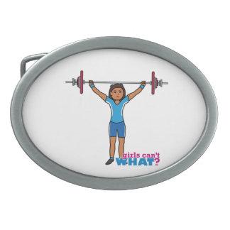 Weightlifter Girl Oval Belt Buckles