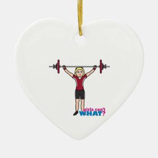 Weightlifter Girl - Light/Blonde Ceramic Ornament