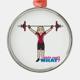 Weightlifter Girl - Light/Blonde Round Metal Christmas Ornament
