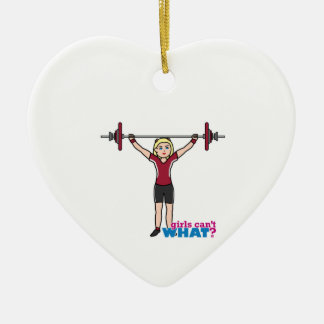 Weightlifter Girl - Light/Blonde Double-Sided Heart Ceramic Christmas Ornament