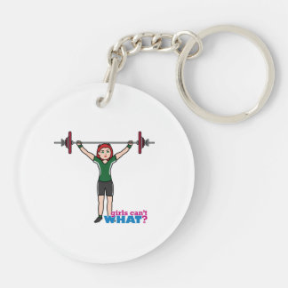 Weightlifter Girl Light/Red Acrylic Key Chain
