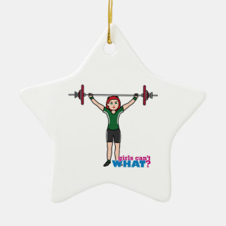 Weightlifter Girl Light/Red Double-Sided Star Ceramic Christmas Ornament