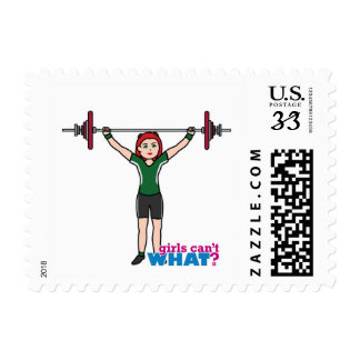 Weightlifter Girl Light/Red Stamps