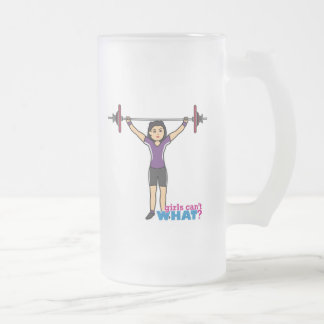 Weightlifter Girl - Medium Frosted Glass Beer Mug