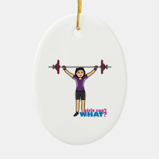 Weightlifter Girl - Medium Double-Sided Oval Ceramic Christmas Ornament