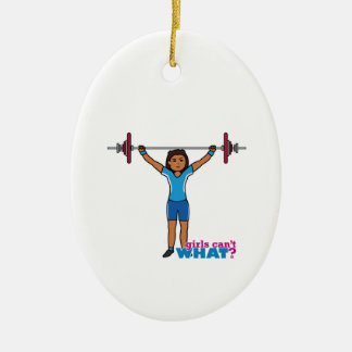 Weightlifter Girl Double-Sided Oval Ceramic Christmas Ornament