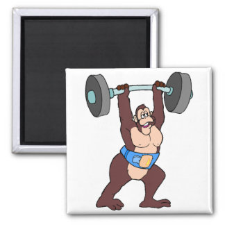 Weightlifter Gorilla 2 Inch Square Magnet