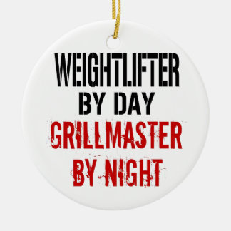 Weightlifter Grillmaster Adorno Navideño Redondo De Cerámica