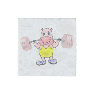 Weightlifter Hippo Stone Magnet