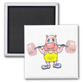 Weightlifter Hippo 2 Inch Square Magnet