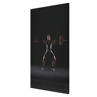 Weightlifter jerking weight stretched canvas print