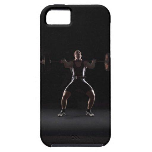 Weightlifter jerking weight iPhone 5 case