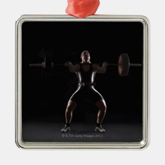 Weightlifter jerking weight square metal christmas ornament