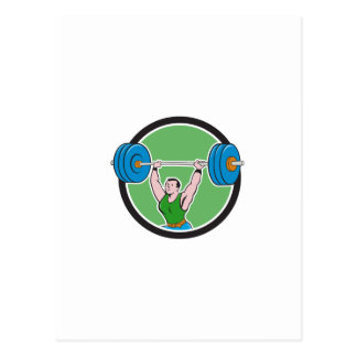 Weightlifter Lifting Barbell Circle Cartoon Postcard