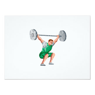 Weightlifter Lifting Barbell Low Polygon 6.5x8.75 Paper Invitation Card