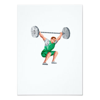 Weightlifter Lifting Barbell Low Polygon 11 Cm X 16 Cm Invitation Card