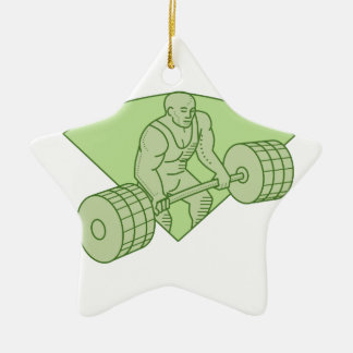 Weightlifter Lifting Barbell Mono Line Ceramic Ornament