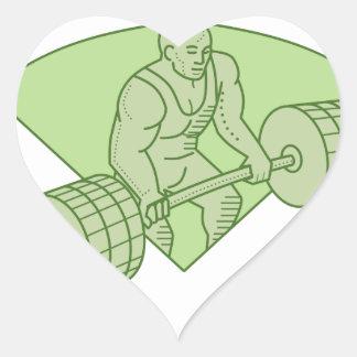 Weightlifter Lifting Barbell Mono Line Heart Sticker