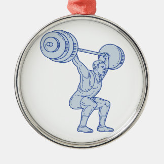 Weightlifter Lifting Barbell Mono Line Metal Ornament