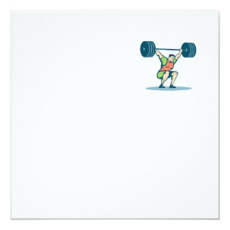Weightlifter Lifting Barbell Retro 13 Cm X 13 Cm Square Invitation Card