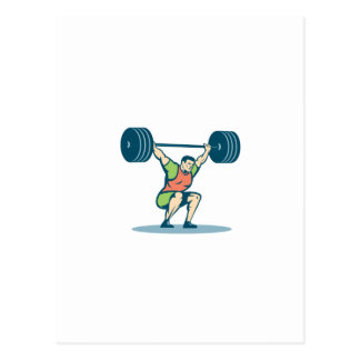 Weightlifter Lifting Barbell Retro Postcard