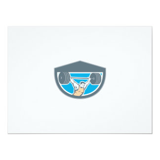 Weightlifter Lifting Barbell Shield Retro 6.5x8.75 Paper Invitation Card