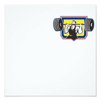Weightlifter Lifting Heavy Barbell Retro 13 Cm X 13 Cm Square Invitation Card