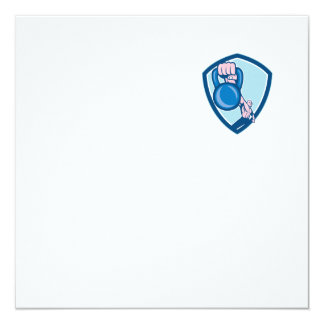 Weightlifter Lifting Kettlebell Shield Cartoon 13 Cm X 13 Cm Square Invitation Card