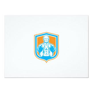 Weightlifter Lifting Kettlebell Shield Retro 6.5x8.75 Paper Invitation Card