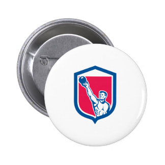 Weightlifter Lifting Kettlebell Shield Retro Pins
