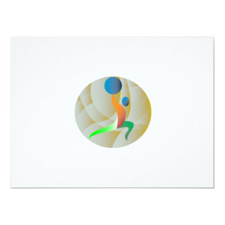 Weightlifter Lifting Weights Circle Retro 6.5x8.75 Paper Invitation Card