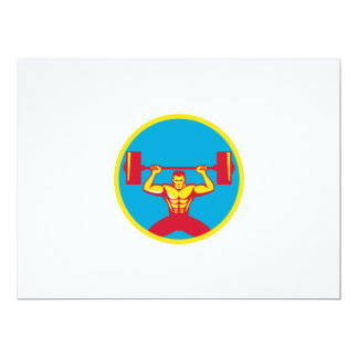Weightlifter Lifting Weights Front Circle Retro 6.5x8.75 Paper Invitation Card