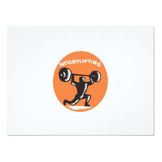 Weightlifter Lifting Weights Oval Woodcut 6.5x8.75 Paper Invitation Card